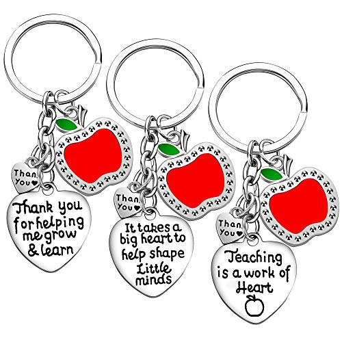 Teacher Appreciation Gift for Women, 3PCs Teacher Keychain Set, Jewelry Gift for Teachers, Birthday Gift for Teacher Gifts from Students (Style A)