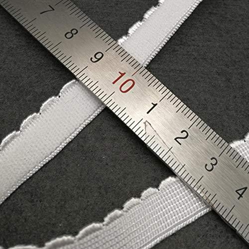 Zwart Wit Rood 10 mm geel roze Polyester Picot Rand Elastische banden voor het afwerken van bh-bandranden 5 meter/stuk, Wit 12 mm breed