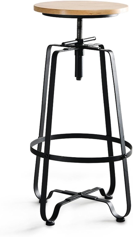 Retro Industrial Style Bar Stool, Adjustable Bar Stool, Iron Craft High Bar Stool,Chairs for Cafe, Bar, Restaurant, Kitchen(Black)