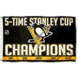 WinCraft Pittsburgh Penguins 5 Time Stanley Cup Champions Flag