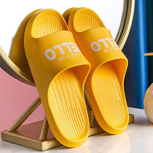 XZDNYDHGX Zapatos De Playa Y Piscina para NiñA NiñO,Zapatillas de Ducha de baño con Letras de Interior para el hogar Unisex, Sandalias de Playa Suaves para Mujer para apartamento Amarillo EU 36-40