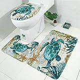LAOSHIZI Alfombrillas de baño Suave Antideslizante Estampado Animal Marino Juego de alfombras de baño de 3 Piezas Alfombra de Contorno en Forma de U y Cubierta del Asiento del Inodoro Tortuga Marina