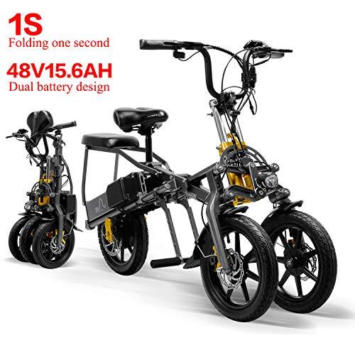 LANKELEISI 2 Batterien 48 V 350 W Faltbares Mini-Dreirad Elektrisches Dreirad 14 Zoll 15,6 Ah 1 Sekunde Hochwertiges Elektrisches Dreirad, das Sich leicht Falten lässt
