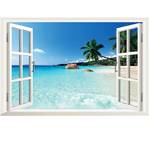 Amtoodopin 3D Beach Seascape Fake Windows Wall Stickers Removable Faux Windows Wall Decal Landscape Wall Decor for Livingroom Bedroom (Beach Seascape 23.6x35.4 inch)