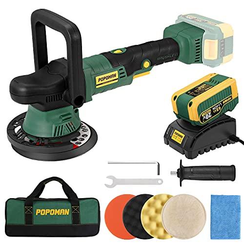 Brushless Cordless Polisher POPOMAN, 20V 4.0Ah Battery, 6 Inch Orbit 2000-5000 RPM Portable Buffer...