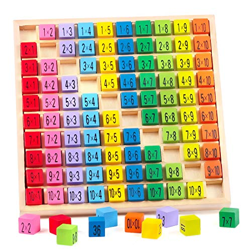Zaloife 10 x 10 Times Tables Tray, Wooden Number Tray, Counting to 100 Board, Math Times Tables for Kids, Multiplication Educational Toys, Learning Board Games