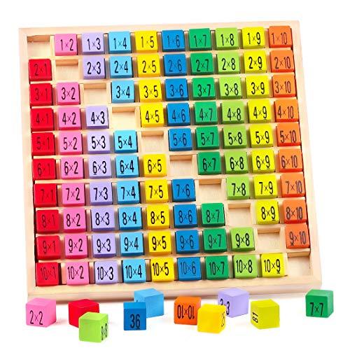 1x1 Zahlen Lernen für Grundschüler, Holzrechenbrett 1x1, Bunte Holzspielzeug Würfe, Mathe Lernen Spielzeug, Rechenbrett Rechnen Lernen, Mathematik Spiele, Kinder Lernspielzeug Geschenk