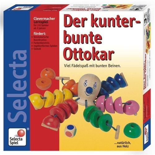Selecta 63006 Der kunterbunte Ottokar, Würfel- und Fädelspiel, Mehrfarbig