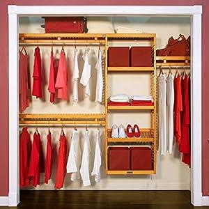 John Louis Home JLH-530 12in Deep Simplicity Closet Organizer, Honey Maple Finish, 12 inch