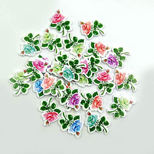 Bodhi2000 Botones, 50 Unidades Nette Flores Forma 2 Agujeros Madera Botones para coser Scrapbooking Crafting Ornament arte DIY decoración
