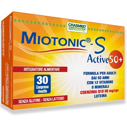 Crasmed Pharma Miotonic S Active 50+ Integratori Alimentari Acido Folico Magnesio e Zinco Integratore Multivitaminico con Vitamina B 5 Vitamina B12 Vitamina D Vitamina C 30 Compresse