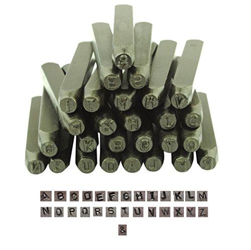 Proops Schmuck, Metall, 27-teilig, Großbuchstaben Einschlaglupe (Kapital -), locht Schlagbuchstaben 2,5 mm/3. (M9025 81.28 cm)),