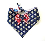 Tie On Snap Closure 2 in 1 Dog Cat Bandana Bow Stars Stripes Patriotic July 4th Red White Blue Petwear Neckwear
