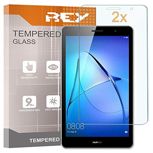 REY 2X Protector de Pantalla para Huawei MEDIAPAD T3 8' / / Honor Play Pad 2, Cristal Vidrio Templado Premium, Táblet