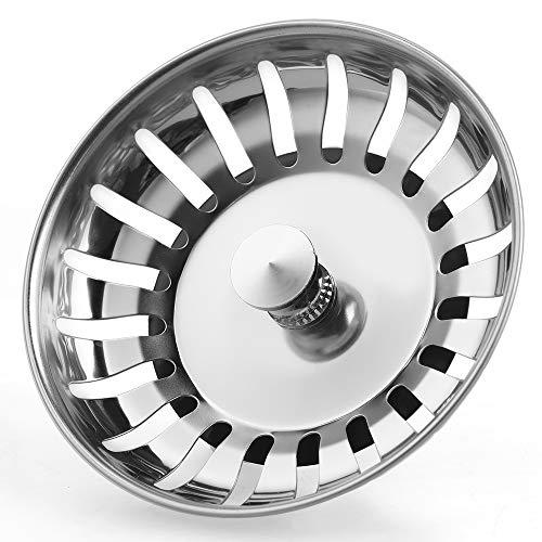 Anpro Edelstahl Küchenspüle Sieb Abflusssieb Küchenspüle Stopper Siebkörbchen mit Zapfen (20 Schlitze) für Stopfenbedienung 78mm (82mm)