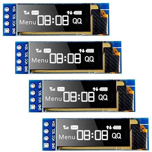 Seamuing I2C OLED Display Module I2C SSD1306 Screen Tiny Module 0.91 Inch White 128X32 I2C OLED Driver DC 3.3V to 5V for Arduino (4 Pack)