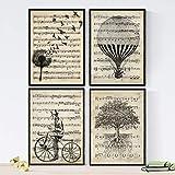Nacnic Ensemble de 4 Affiches pour encadrer Le Style Vintage. Affiches de partitions,...