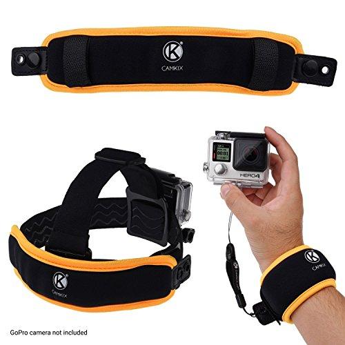 CAMKIX 2in1 schwimmende Handschlaufe & Stirnband-Schwimmer- Kompatibel mit Hero 7, 6, 5, Session, Hero 4, Session, Schwarz, Silber, Hero+ LCD, 3+, 3, 2, 1 - Verhindert, DASS Ihre Kamera versinkt