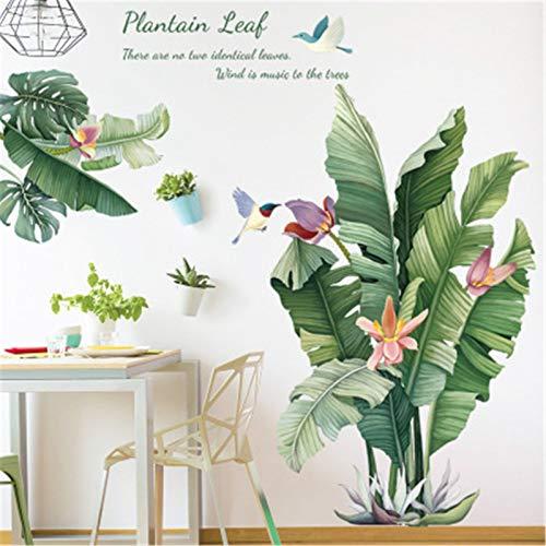 Wandtattoo Pflanze Tropische Verlässt Wandsticker Groß Blätter Grüne Wandaufkleber Wohnzimmer Schlafzimmer Flur Wanddeko (C)