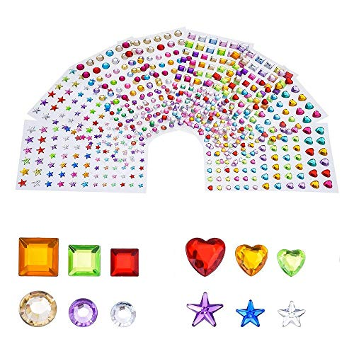 Antner 704pcs Self-Adhesive Rhinestone Stickers Gems for Crafts Bling Jewels Colored Arts and Crafts Gems, Assorted Size, 8 Sheets