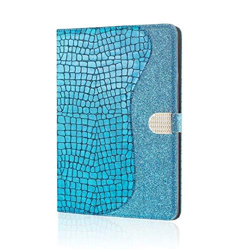Bling Glitter Case para Huawei MediaPad T3 10 9.6', ultra delgada y ligera a prueba de golpes, funda inteligente con tapa protectora tipo libro con soporte magnético para niñas y mujeres, azul