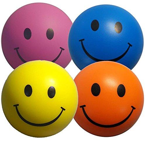 Stressballs 4 x Stressball Mischfarbe – Antistressball Gelb, Rosa, Blau und Orange