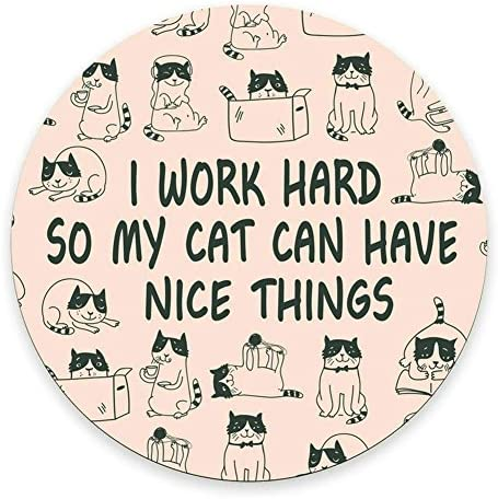 Round Mouse Pad Mousepad Cat Mouse Pad Funny Coworker Gift Office Supplies Cat Lover Gift Pink product image
