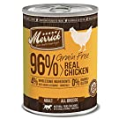 Merrick Grain Free 96% Real Chicken Wet Dog Food, 13.2 oz, Case of 12 Cans