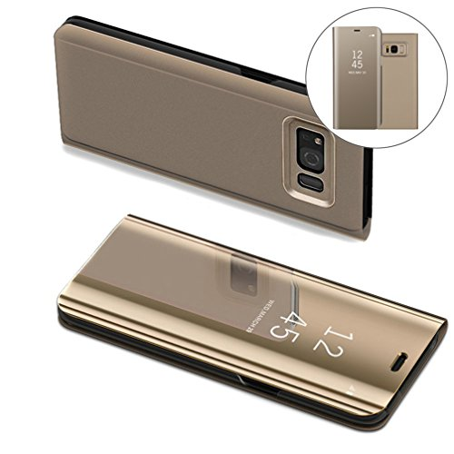 COTDINFORCA Samsung S8 Case, Mirror Design Clear View Flip Bookstyle Luxury Protecter Shell with Kickstand Case Cover for Samsung Galaxy S8 SM-G950-5.8 inch. Flip Mirror: Gold