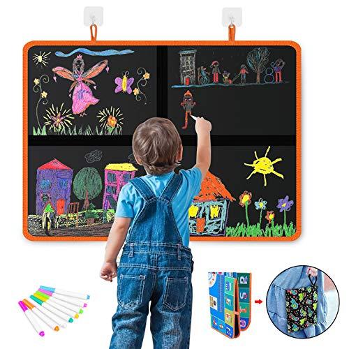 DX DA XIN - Alfombra de dibujo al agua mate para niños borrable, gran formato, 56 x 40 cm, juguete educativo, regalo de aprendizaje para niño y niña, con 12 bolígrafos de colores ✅