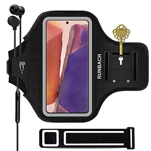 Runbach Water Resistant Running Armband for Samsung Galaxy Note 20/10+/10/9/8,Galaxy M31/M30/M21/M20/M11/M10/F41/XCover Pro,with Adjustable Strap and Card Slot(Black)
