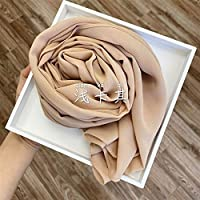 レディーススカーフ シフォンスカーフラッププレーン/ソリッドカラーレディースヘッドスカーフ夏ロングショール175x70cm カジュアル (Color : 34)