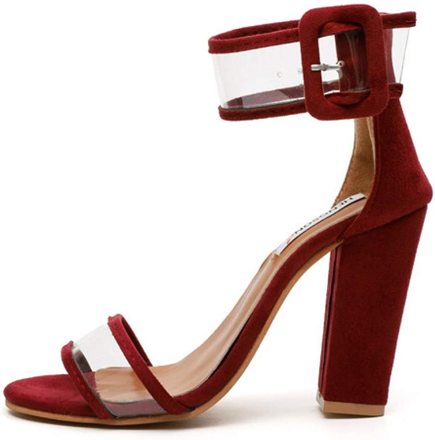 Women's Block Heeled Sandals Summer Fashion Ladies High Heels Transparent Ankle Buckle shoes