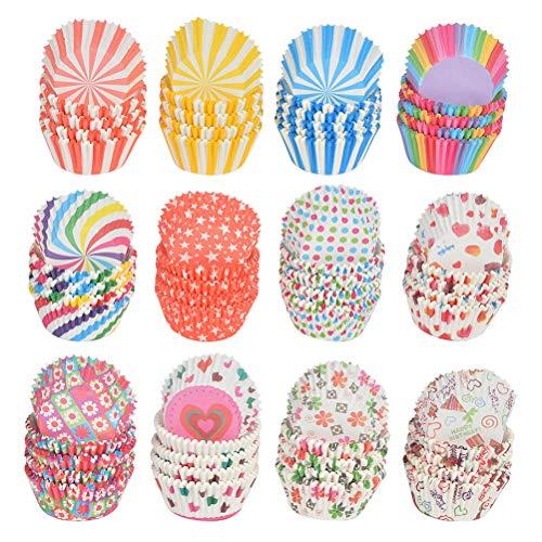 N\A 1200 Stück Cupcake Backformen Backformen Muffincups Muffinförmchen Papier Regenbogen Backbecher 12 Arten Cupcake Liner für Hochzeit Geburtstagsfeier