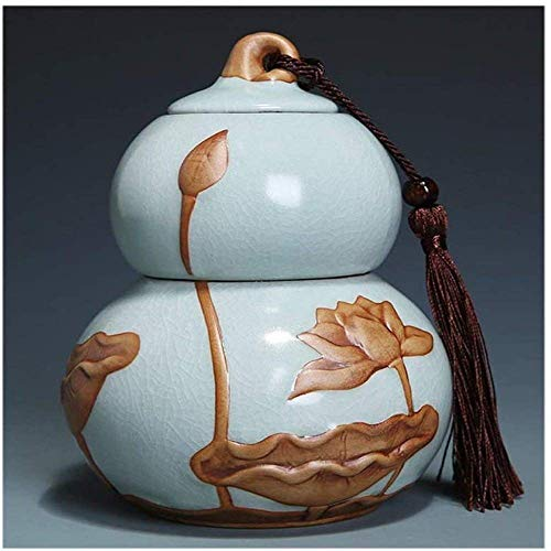 Cremation Urn Decorative Urns Funeral Adults Children Pet Sealed Against Moisture for A Small Amount of Human Ashes Perfect Souvenir Gourd Ornaments (Color : Orange)