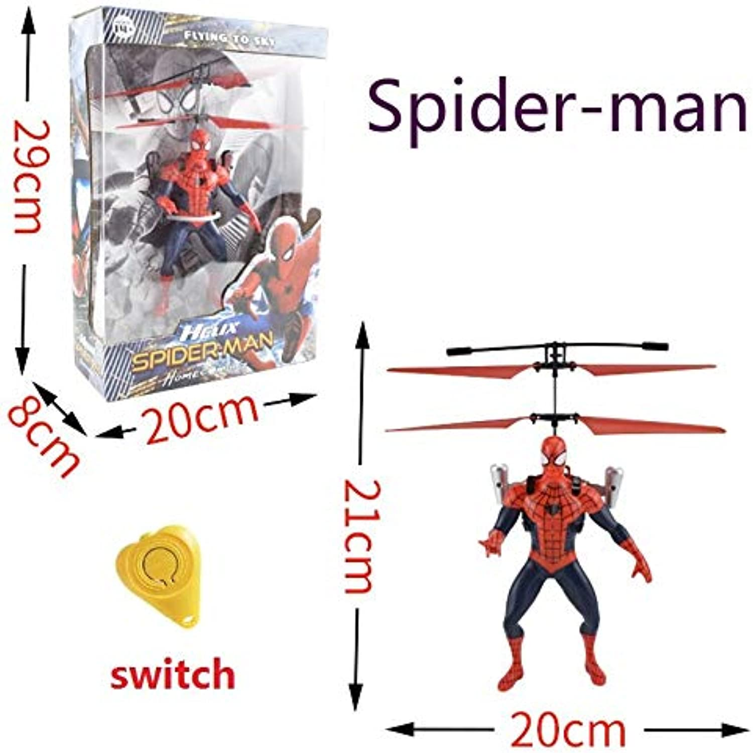 Generic The Avengers Big Superhero Mini Helicopter RC Drone Fly Flashing Induction Aircraft Hand Control Quadcopter Dron LED Kids Gift SpiderMan