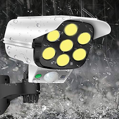 Hieefi Dummy CCTV Cámaras De Seguridad CCTV Sistemas De Cámara Luces Solares De Simulación Al Aire Libre con Pir del Sensor De Movimiento Intermitente Led 77 COB