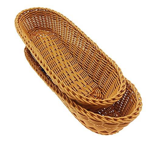 14'Poly-Wicker Bread Basket, Woven Tabletop Food Fruit Vegetables Serving, Restaurant Serving Basket,Brown(2 PACKS)¡