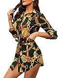 Minetom Femme Sexy Chemise Robe à Col V Slim Tunique Bouton Imprimé Manches Longues Shirt Blouse Robes avec Ceinture Vert 38