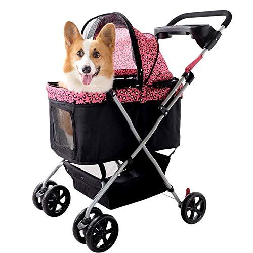 Ouqian-BB Perros Carritos Cochecito del Animal doméstico Animal doméstico suministra Viaje del Perro del Gato de la Carretilla Plegable Cochecito del Animal doméstico de Desplazamiento del Carro
