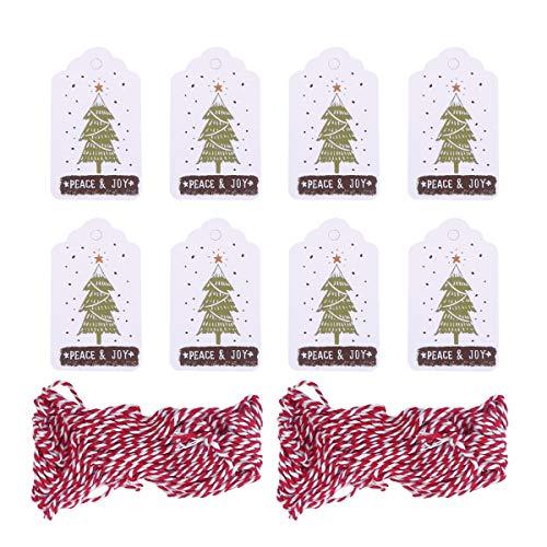 Amosfun 102 stücke gemalt hängen Tags mit 10 mt Gewinde Seil DIY hängen Tags Papier hängen Ornament für DIY Handwerk Hause Weihnachten (100 stücke Tags, 2 10 mt Gewinde)
