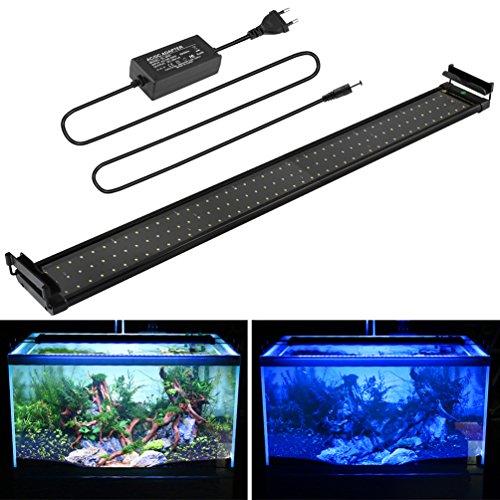 BELLALICHT Aquarium Lampe Rampe LED 144LED SMD Bleu et Blanc réglable luminosité 25W 90-110CM 3 Modes permutable Extensibles Fish Tank éclairage pour Poissons avec Télécommande