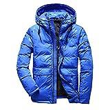 Daydreaming-shop Men Winter Feather Jacket Men Coat Hooded Camouflage Parka Jackets,Blue,M