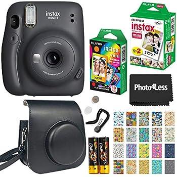 Fujifilm Instax Mini 11 Instant Camera - Charcoal Grey  16654786  + Fujifilm Instax Mini Twin Pack Instant Film  16437396  + Single Pack Rainbow Film + Case + Travel Stickers