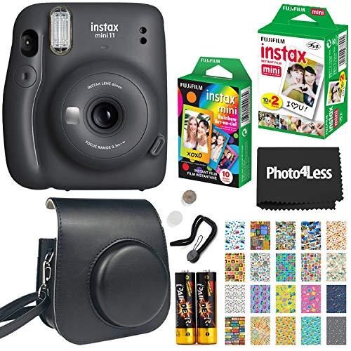 Fujifilm Instax Mini 11 Instant Camera + Fujifilm Instax Mini Twin Pack Instant Film (16437396) + Single Pack Rainbow Film + Case + Travel Stickers (Charcoal Grey)