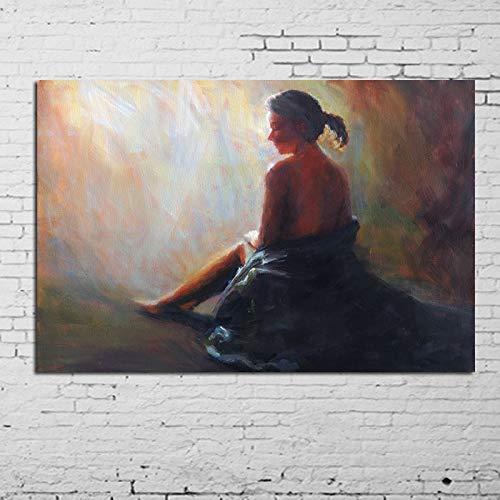 N / A Rahmenlose Malerei Bild Ölgemälde Mädchen auf Wandkunst Leinwand Denken Wandkünstler Hauptdekoration Bild40X48cm