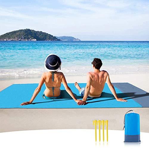 Sendowtek Alfombra de Playa Grande, 210 x 200 cm Alfombra de Playa portátil y Alfombra de Playa Impermeable, con 4 Clavos de fijación,Ideal para Viajes al Aire Libre