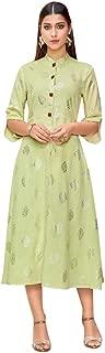 Pista Green Foil Print Trendy Kurti Rayon Casual & Work Tunic Midi Women Kurta 8160