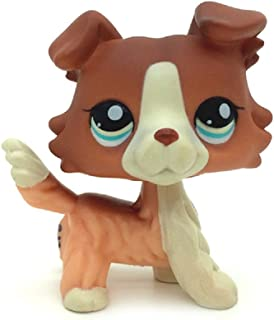 Brown White Collie Dog Blue Eyes Kids Toys Puppy Littlest Pet Shop LPS 1542