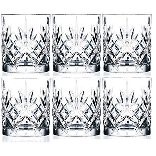 King International Crystal Glass Straight Leaf Pattern Juice Glasses, 225ml, Set of 6, Clear